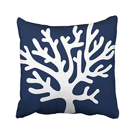 White Sea Coral (WinHome Square Throw Pillow Covers Sea Coral In Navy Blue And White Pillowcases Polyester 18 X 18 Inch With Hidden Zipper Home Sofa Cushion Decorative)