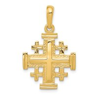 1956fcbb3 Product Image 14k Yellow Solid Gold Jerusalem Cross Pendant for Necklace  30mm Length