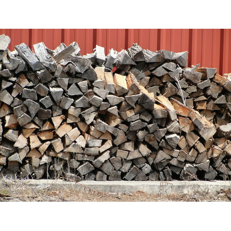 Face Cord Firewood - Canvas Print Corded Wood Pile Firewood Split Wood Stacked Wood Stretched Canvas 10 x 14
