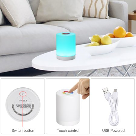 DC5V 4W Touch Control LED Night Light Lamp 3 Levels Brightness Dimmable SOS/ Color Changing Lighting Modes USB Powered Operated Built-in 1200mAh High Capacity Rechargeable Battery Portable for Bedroo - image 2 of 7