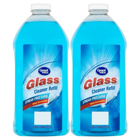 Pellet Stove Glass Cleaner ((2 Pack) Great Value Glass Cleaner Refill, Streak-Free Shine, 67.6 fl oz)