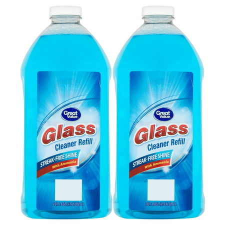 - (2 Pack) Great Value Glass Cleaner Refill, Streak-Free Shine, 67.6 fl oz