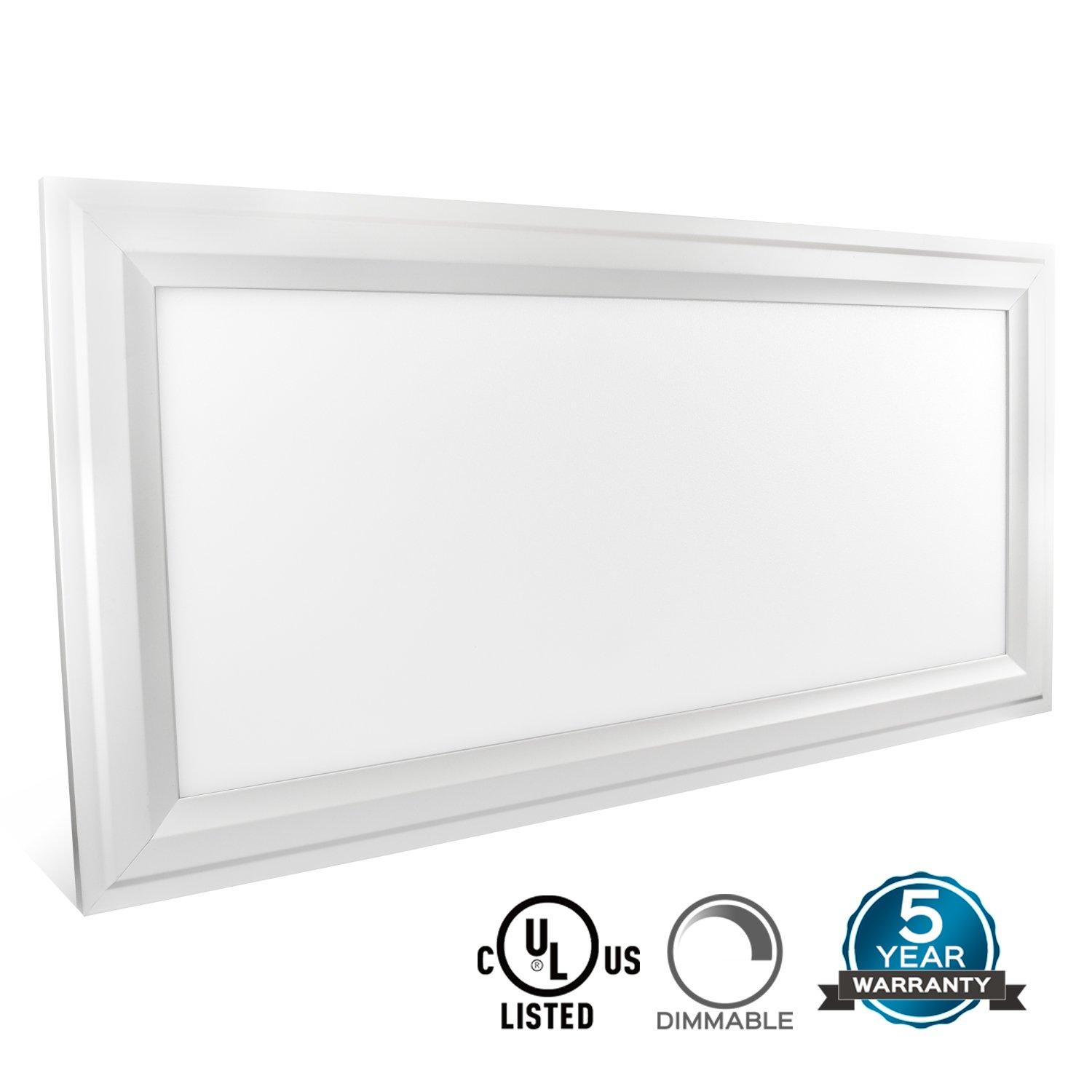Luxrite 1x2 FT LED Panel Light Fixture, Ultra Thin Edge Lit 25W, 3000K Soft White, 2250 Lumens, Dimmable, Flushmount... by Luxrite