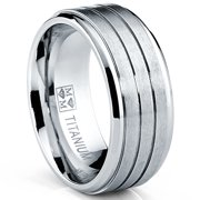 9MM Grooved Men's Titanium Ring Wedding Engagement Band, Comfort Fit Sizes 7 to 13