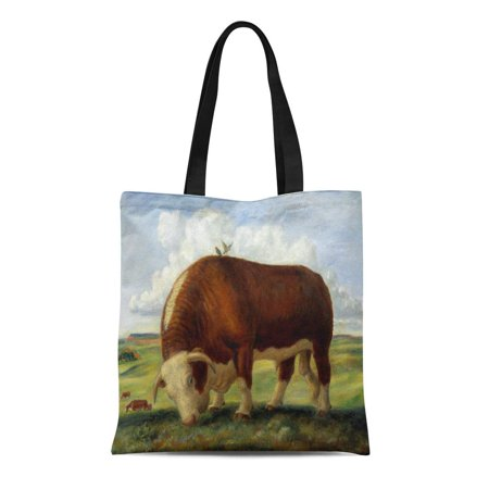 ASHLEIGH Canvas Tote Bag Red Cattle Vintage of Hereford Cow and Bull Beef Reusable Handbag Shoulder Grocery Shopping Bags