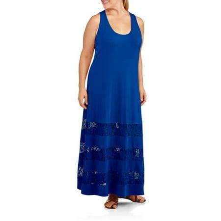 ONLINE - ^^women\'s Plus-size Maxi Dress With Lace - Walmart.com