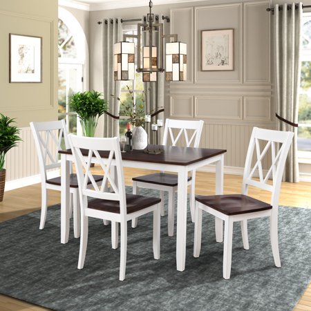 5 Piece Kitchen Table Set, Modern Dining Table Sets with Dining Chairs for 4, Heavy Duty Wooden Rectangular Dining Room Table Set with White Finish for Home, Kitchen, Living Room, Restaurant, L856 Antique White Dining Room Sets