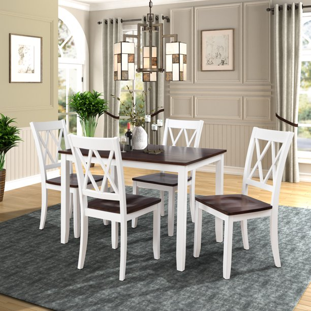 5 Piece Kitchen Table Set Modern Dining Table Sets With Dining Chairs For 4 Heavy Duty