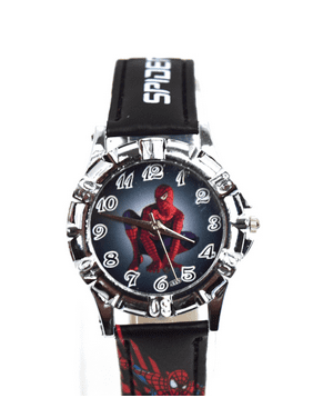 Spiderman Superhero Boys Watch with Spider-Man on Black Band and Face of Watch BSW-1