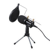 Wired Condenser Microphone for Computer Audio 3.5mm Studio Mic  Video Conferencing Voice Recording Video Chatting  KTV Karaoke Mic with Stand for PC Phone
