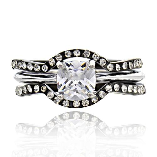 Stainless Steel Cubic Zirconia 3-piece Bridal Ring Set Ring Size 8
