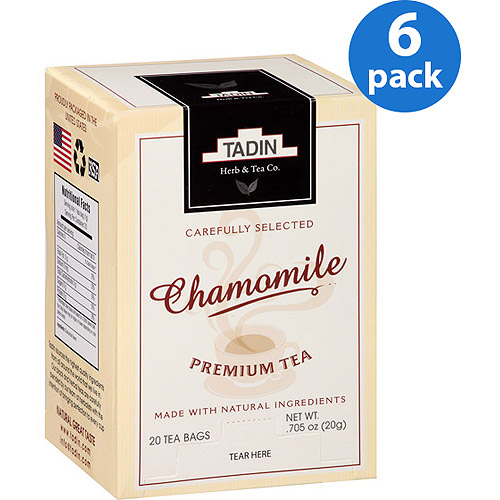 Tadin Chamomile Tea Bags, 20 count, .705 oz, (Pack of 6)