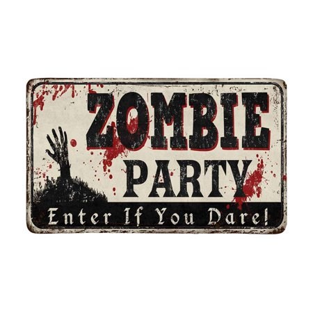 MKHERT Zombie Party Vintage Rusty Metal Sign Halloween Theme Doormat Rug Home Decor Floor Mat Bath Mat 30x18 inch - 100 Floors Halloween Level 30