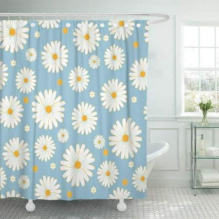 KSADK Yellow Daisy Daisies Pattern Blue Flower Spring Vintage Chamomile Retro Pastel Shower Curtain 66x72 inch (Blue Retro Shower Curtain)