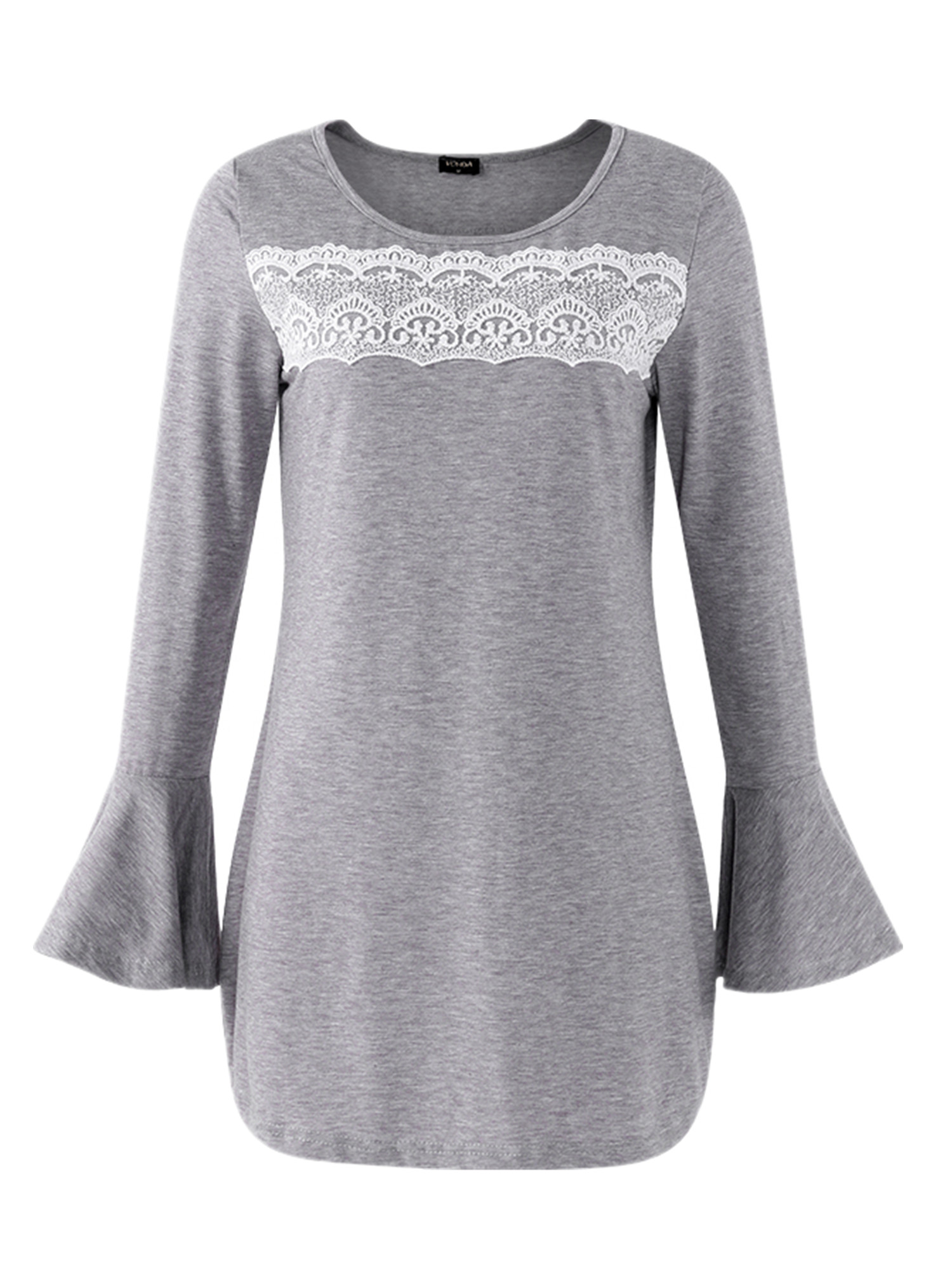 Lace Maternity Blouse Fashion Long Bell Sleeve Crew Neck Comfy Shirt