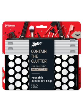 Ziploc Brand Chic Collection Skinny Stuff Accessory Bags, 5 Bags