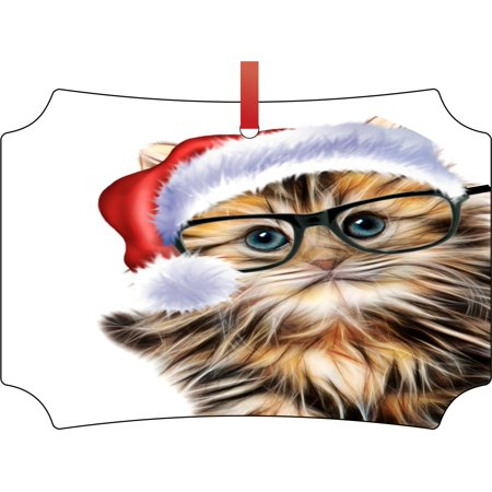Ornaments with Cats Hipster Kitten in a Santa Hat Double Sided Elegant Aluminum Glossy Christmas Ornament Tree Decoration - Unique Modern Novelty Tree Décor Favors - Cat With Santa Hat