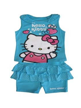 5d1536cd5db37 Sanrio Little Girls Blue Kitty Dotted Ruffle Detail 2 Pc Shorts Outfit 4-6X.  Hello Kitty