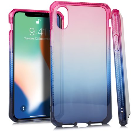 MUNDAZE Blue Pink Ombre Deluxe TPU Flexible Case For Apple iPhone X Phone