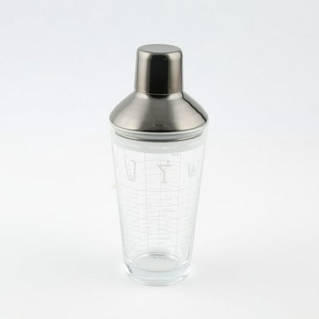 Crystal Glass Shaker - Glass Cocktail Shaker Printed With Recipes, Black finish leak-proof lid