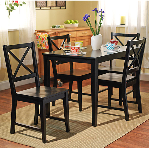 Virginia 5 Piece Dining Set, Black