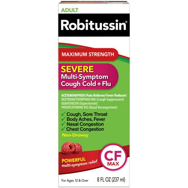 Robitussin Adult Maximum Strength Severe Multi-Symptom Cough Cold+Flu Liquid, 8 fl oz