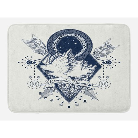 Adventure Bath Mat, Mountains in Boho Tattoo Style with Crossed Arrows and Astrological Symbols, Non-Slip Plush Mat Bathroom Kitchen Laundry Room Decor, 29.5 X 17.5 Inches, Dark Blue White, Ambesonne - Astrological Tattoos