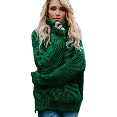 c876961116 Women s Winter Turtle Neck Baggy Tops Chunky Knitted Oversized Sweater  Jumper - Walmart.com