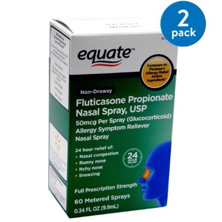 (2 Pack) Equate Non-Drowsy Fluticasone Propionate Nasal Spray, 60 Ct, 0.34 -