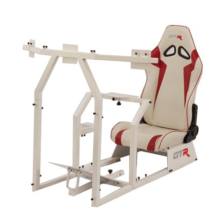 GTR Racing Simulator GTAF-WHT-S105LWHTRD - GTA-F Model (White) Triple or Single Monitor Stand with White/Red Adjustable Leatherette Seat, Racing Simulator Cockpit gaming chair Single Monitor (Leatherette Stand)