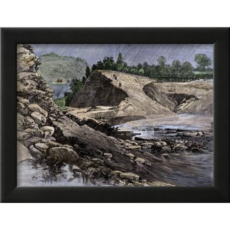 South Fork Dam - Empty Reservoir Behind the Broken South Fork Dam That Caused the Johnstown Flood in Pennsylvania Framed Print Wall Art