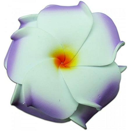 Plumeria Foam - Foam Double Petal Flower Medium Hair Clip Plumeria Lilac, White