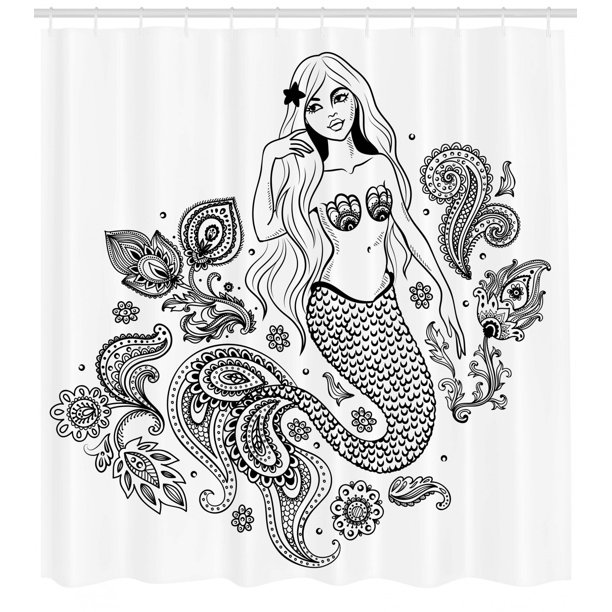Mermaid Shower Curtain Embellished Mermaid Figure With Ornate Paisley Leaf Folkloric Human Fish Design Fabric Bathroom Set With Hooks 69w X 84l Inches Extra Long Black Grey By Ambesonne Walmart Com
