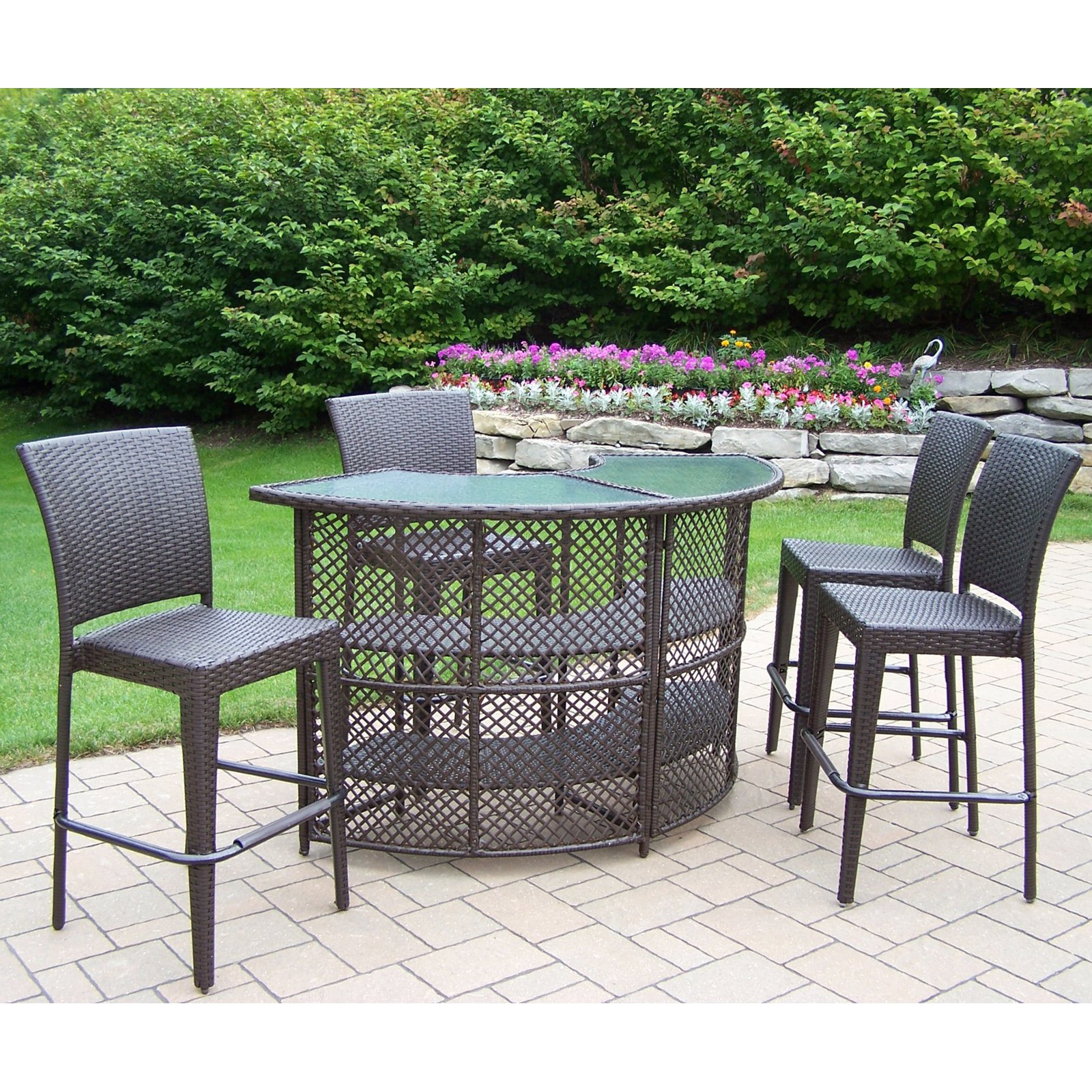Gentil Oakland Living All Weather Wicker Half Round Patio Bar Set