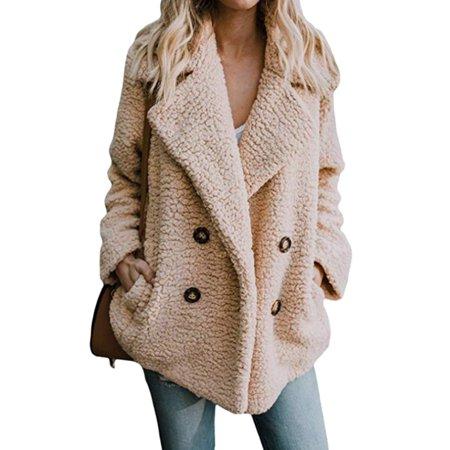 Womens Button Fluffy Jacket Cardigans Ladies Warm Jumper Fleece Faux Fur Coat Hoodie Outwear (Women Trench Coat Beige)