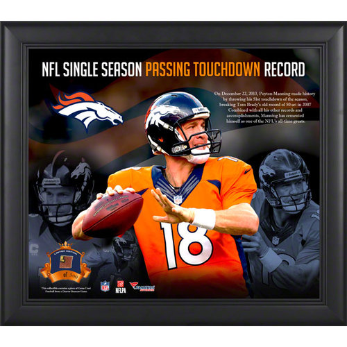 NFL - Peyton Manning Denver Broncos Single-Season Passing Touchdown Record Framed 15x17 Collage with Game-Used Ball-Limited Edition of 500