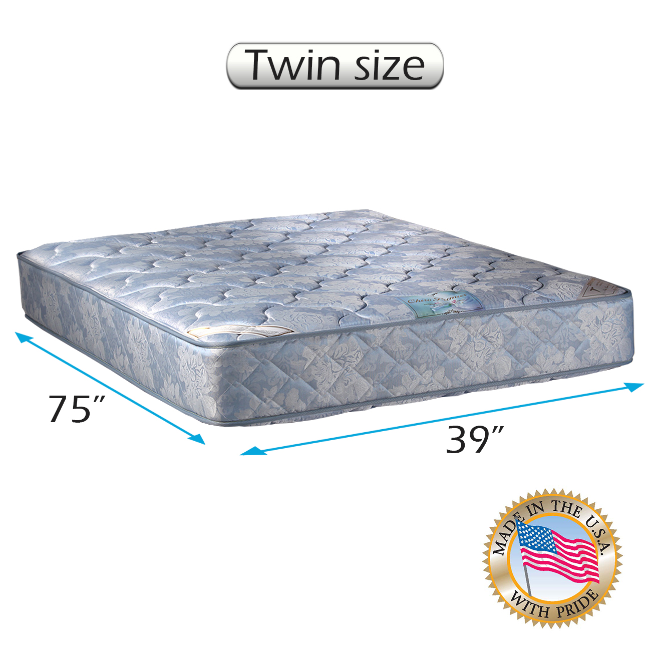 Chiro Premier Double-Sided Orthopedic (Blue Color) Twin Mattress Only with Mattress Cover Protector Included - Fully Assembled, Innerspring coils, Long Lasting by Dream Solutions USA