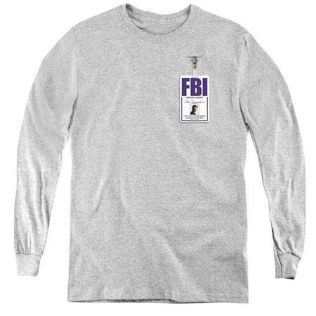 X Files & Mulder Badge Youth Long Sleeve T-Shirt, Athletic Heather - Large - image 1 de 1
