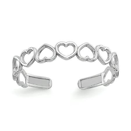 Women's 14K White Gold Heart Toe Ring MSRP $67 14k Designer Toe Ring
