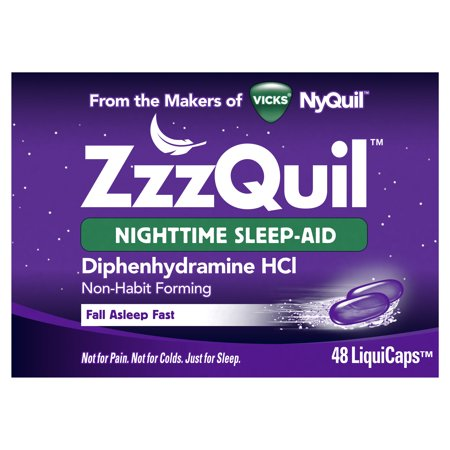 Vicks ZzzQuil Nighttime Sleep Aid, Non-Habit Forming, Fall Asleep Fast and Wake Refreshed, 48 Count (Best Sleep Aid Medicine)