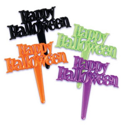 Happy Halloween Scripts Spooky Black Orange Green Purple -24pk Cupcake / Desert / Food Decoration Topper Picks with Favor Stickers & Sparkle Flakes (Halloween Wedding Toppers)