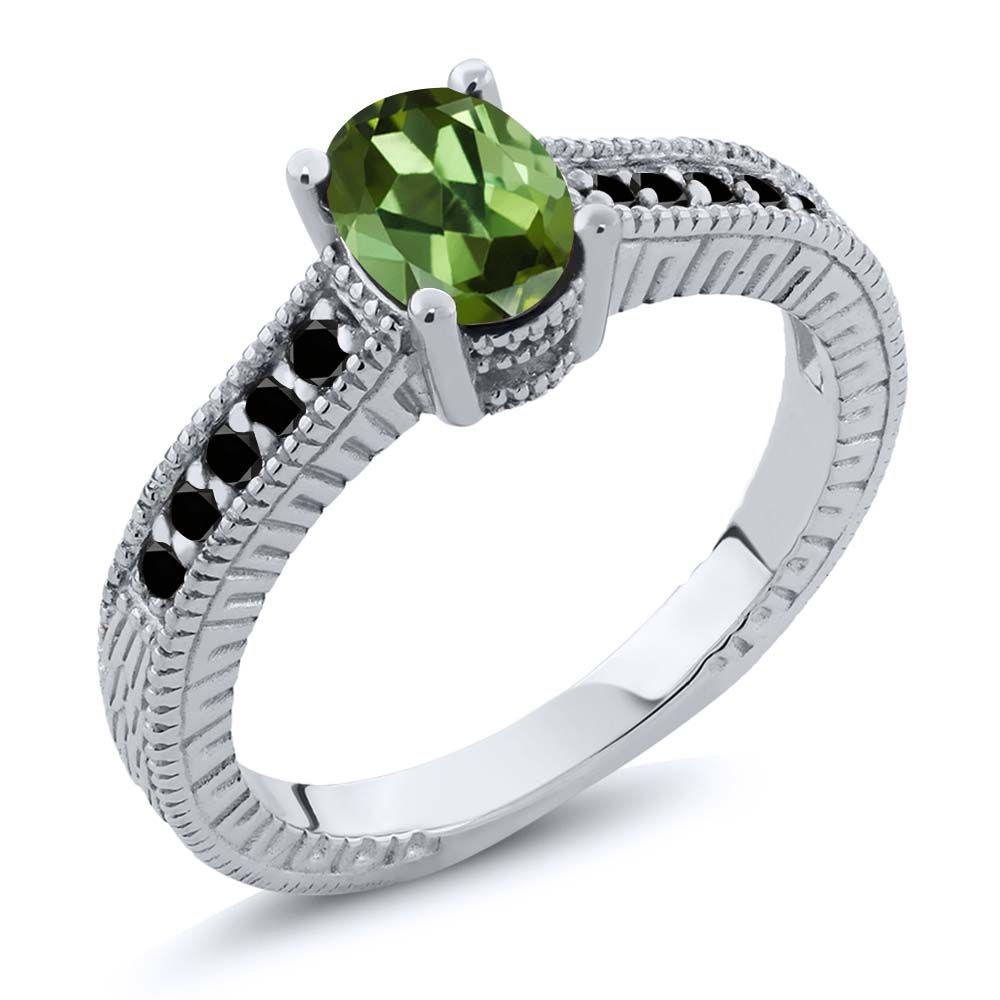 1.18 Ct Oval Green Tourmaline Black Diamond 925 Sterling Silver Engagement Ring by