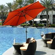 9FT Patio Umbrella Market Sun Shade Steel Tilt W/ Crank Outdoor Yard Garden