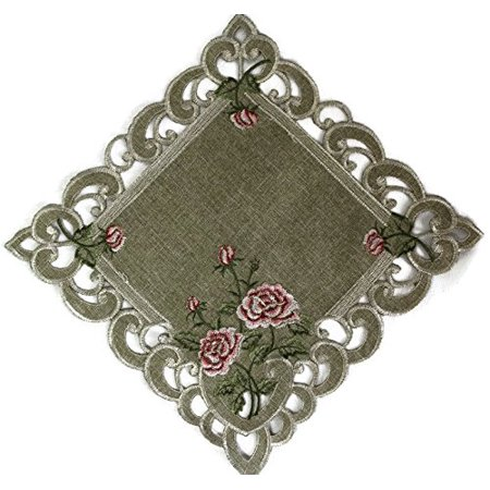 Doily Boutique Square Doily with a Pink Rose and Sage Green Burlap Linen Fabric, Size 15 inches Doily Light Peach