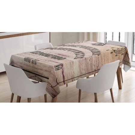Talking Alphabet Letter (Ouija Board Tablecloth, Wooden Texture Talking Spirit Board with Alphabet Letters, Rectangular Table Cover for Dining Room Kitchen, 52 X 70 Inches, Dark Taupe Beige and Warm Tuape, by)