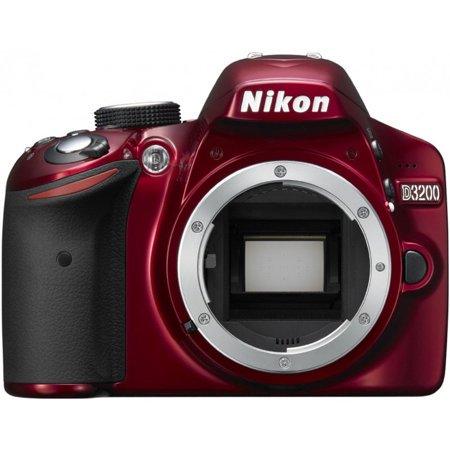 Refurbished Nikon D3200 24.2 MP Digital SLR Camera - Body Only - Red (Nikon Cameras D3200)