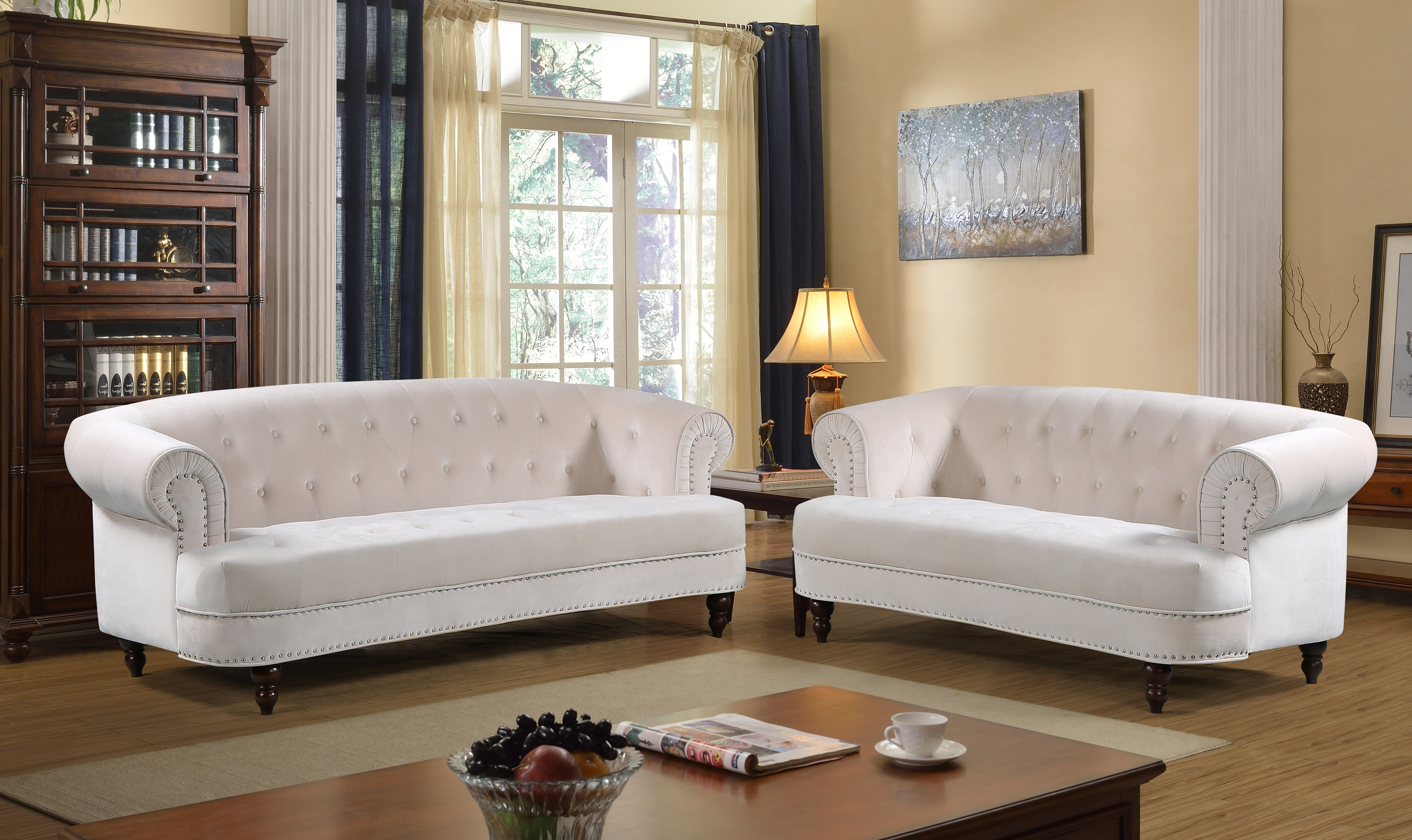 Us pride furniture downey velvet nail head chesterfield 2 piece sofa and love seat ivory walmart com