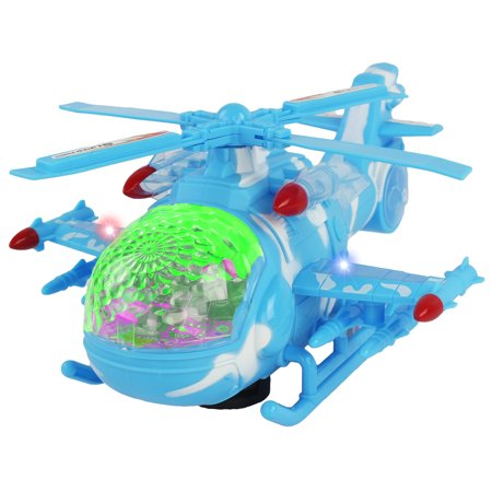 Battery Operated Interactive Light Up and Sound Bump and Go Toy Military Combat Falcon Helicopter Air Space Control Unit with Helicopter Sounds Plus Combat Sounds (