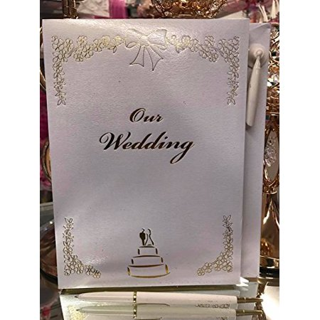 Wedding White and Gold Trim Signature Guest Book Keepsake Gift ()