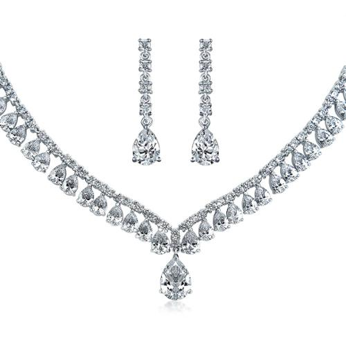 Bling Jewelry Pear Cut CZ Statement Bridal Necklace Earrings Set Rhodium Plated